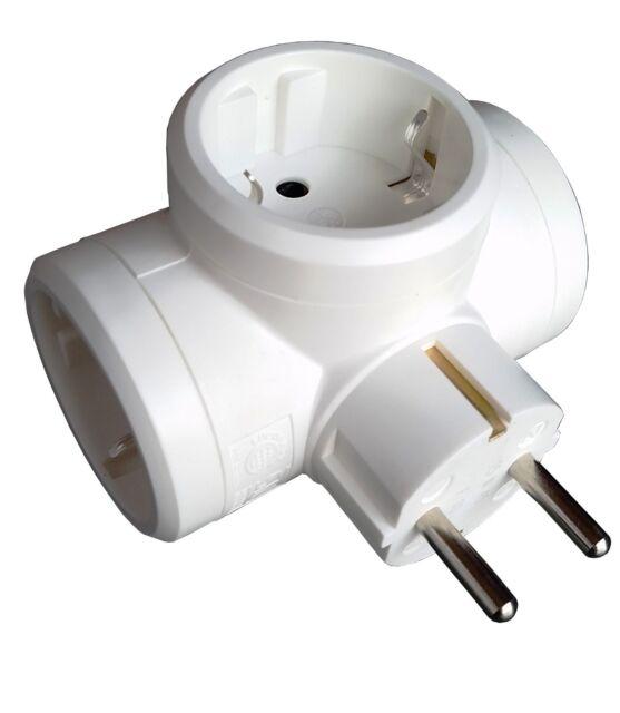Multistecker mit 4 Steckdosen KINDERSICHERUNG Mehrfachstecker Adapter Stecker