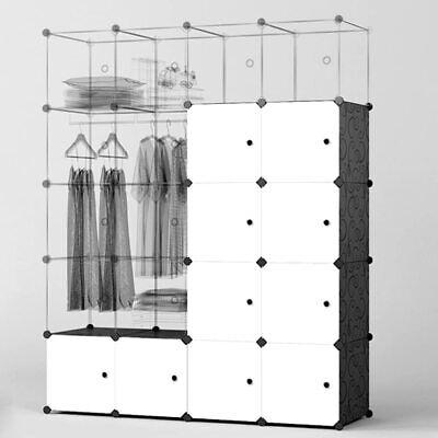 Kleiderschrank Modular Weiß Garderobe Kunststoff Regalsystem DIY Raumteiler DHL