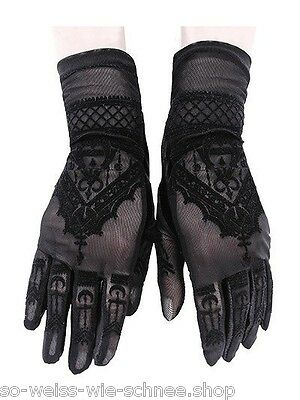 Restyle Gothic Handschuhe Rockabilly Satin Pin Up Spitze Lace Gloves Steampunk