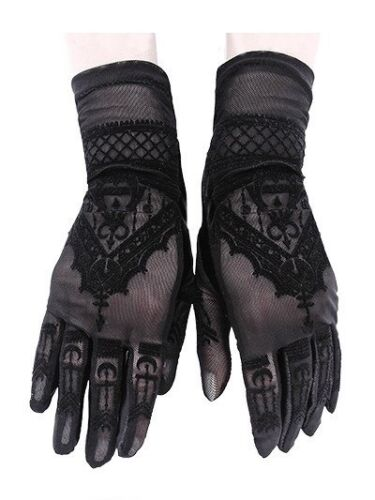 Restyle Gothic Victorian Spitze Abend Handschuhe Guipure Lace Mesh
