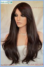 Human Hair Blend Heat Safe Wig Skin Top Clr  #4 Sexy Long Straight Style *279 B