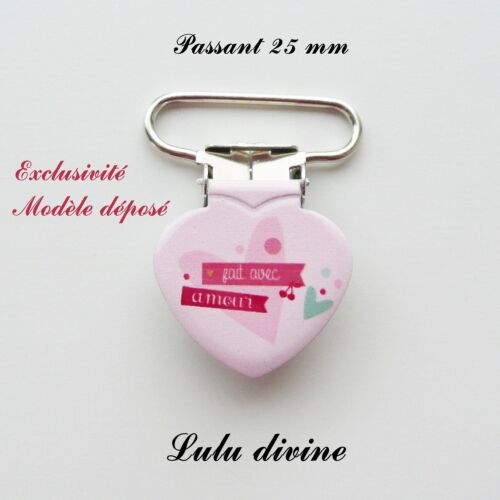 Attache tétine rose Coeur Fait avec amour passant de 25 mm 1 Pince Coeur