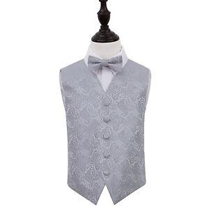 DQT-Woven-Floral-Paisley-Silver-Boys-Wedding-Waistcoat-amp-Bow-Tie-Set