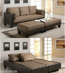 Two Tone Futon Contemporary Sofa Bed Group With 2 Ottomans Living Room Furnit