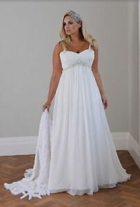 Details about Plus Size Wedding Dress Long White/Ivory A-Line Lace Up Belt  Bridal Gown Custom