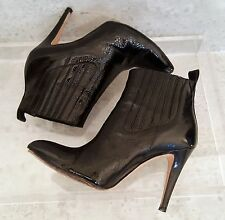 BRIAN ATWOOD sz 6 Black Patent Leather high Heel Ankle Boots EU 36 SHIPS FREE