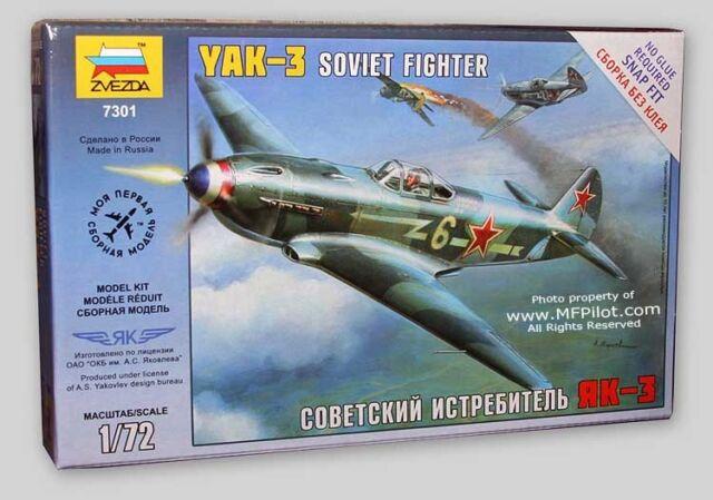 YAK-3 Soviet Single Seat Fighter - 1/72 Zvezda Snap Kit #7301 - FREE SHIPPING