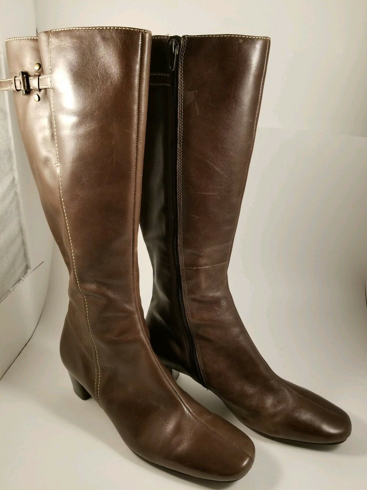 marron leather tall bottes Taille 9 - 9.5