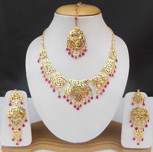 SOUTH-INDIAN-JEWELRY-SET-UK-GOLD-PLATED-BRIDAL-KUNDAN-CZ-NECKLACE-EARRINGS-TIKKA