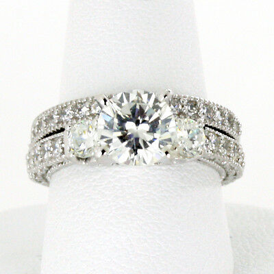 Sterling Silver Engagement Ring 6MM Three Round Stone CZ 2 Ring Set Half Sizes