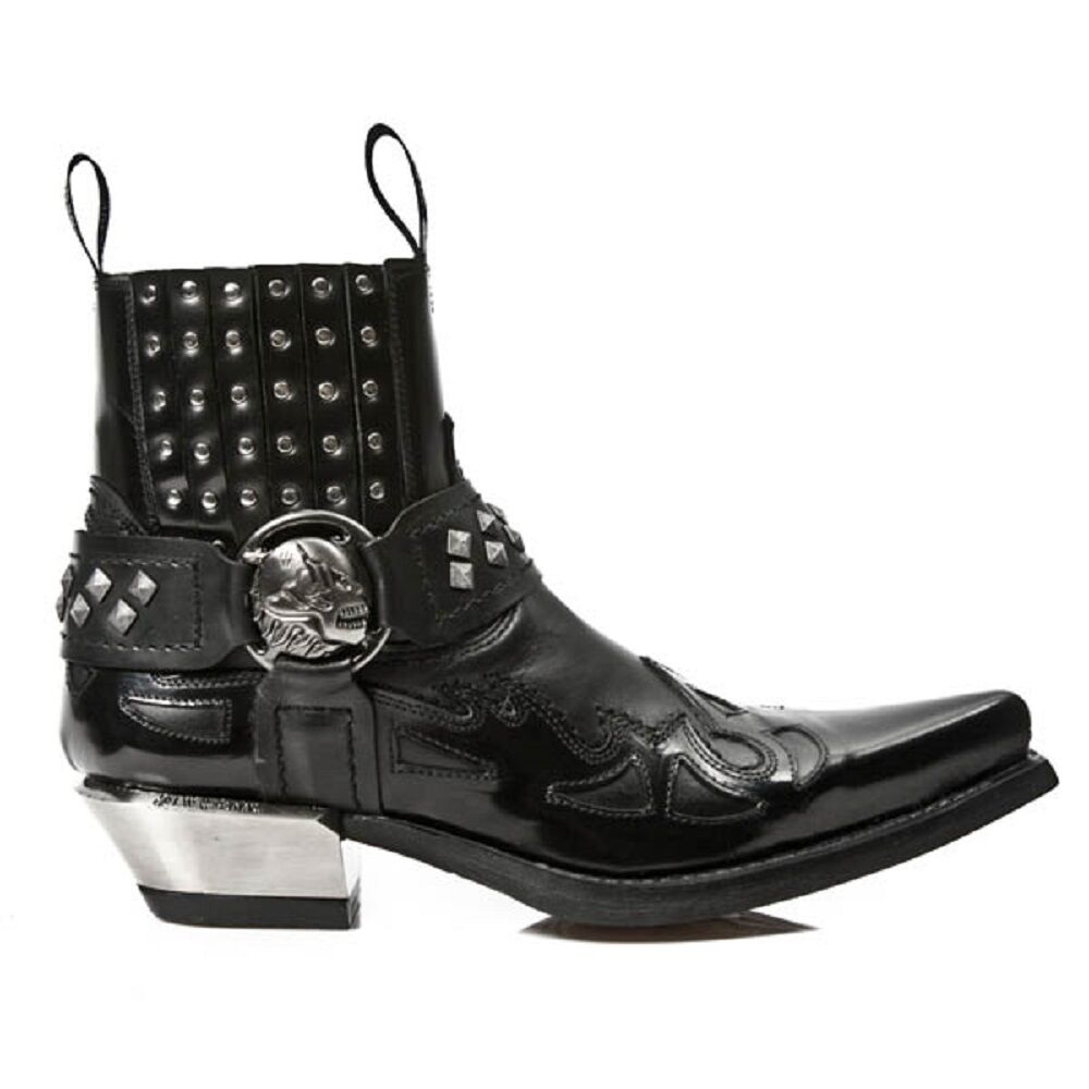 NEW WESTERN Rock m.7950-s1 NERO STIVALETTI WESTERN NEW Goth TRACOLLA TESCHIO BORCHIE IN METALLO 468703