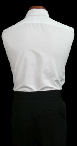 White Traditional Tuxedo Shirt Laydown or Wing Collar Prom Wedding 15 16 17 18