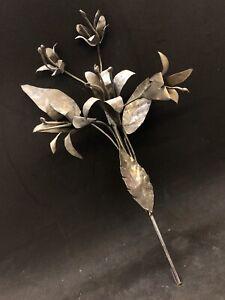 Fiori Giglio calla fiorito per santi 22 Cm ottone bagno argento arte sacra