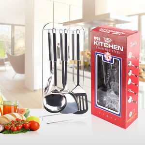 '7-Piece-Stainless-Steel-Kitchen-Tool-Set-Rack-Cooking-Tools-Utensils-Spoon-Fork' from the web at 'https://i.ebayimg.com/images/g/GcMAAOSw9IpX1mE~/s-l300.jpg'