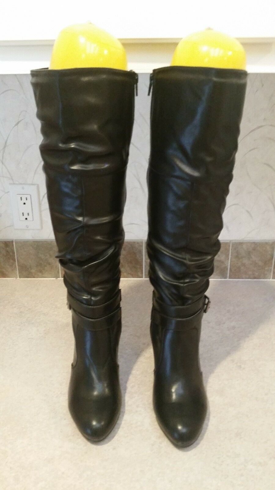 Style & Co Fearse Black Ruched Slouch Platform Stiletto Knee High Boots Size 9