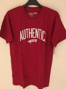 459d8b06d0 Image is loading Vans-Authenticity-Otw-Mens-Boys-T-shirt-Red-