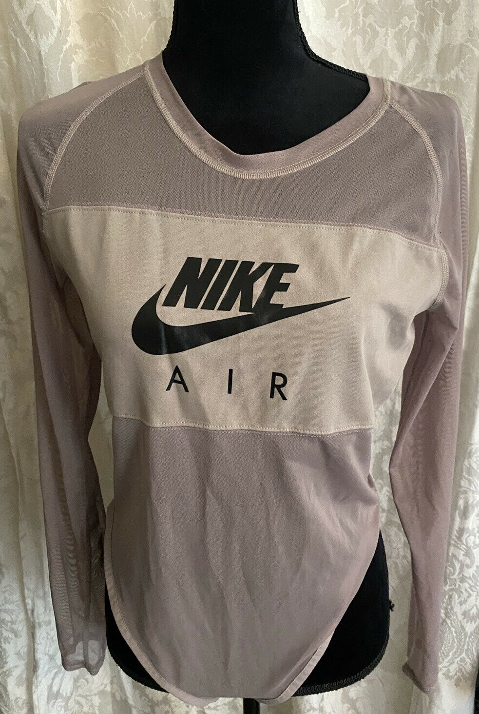 NWOT Nike Air Women's Mesh Gray Stretchy Body Suit Size Large