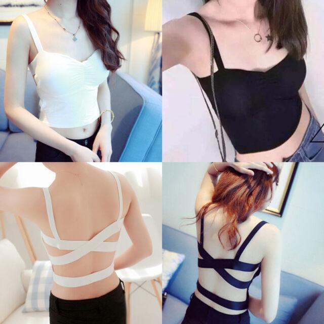 Womens Cross Strappy Bra Tank Tops Bustier Vest Crop Top Bralette Blouse Sale