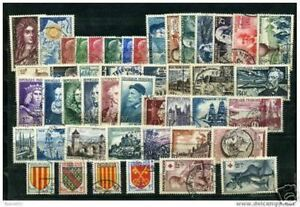 FRANCE-STAMP-ANNEE-COMPLETE-1955-TIMBRES-OBLITERES-TB-VALEUR-223-A942