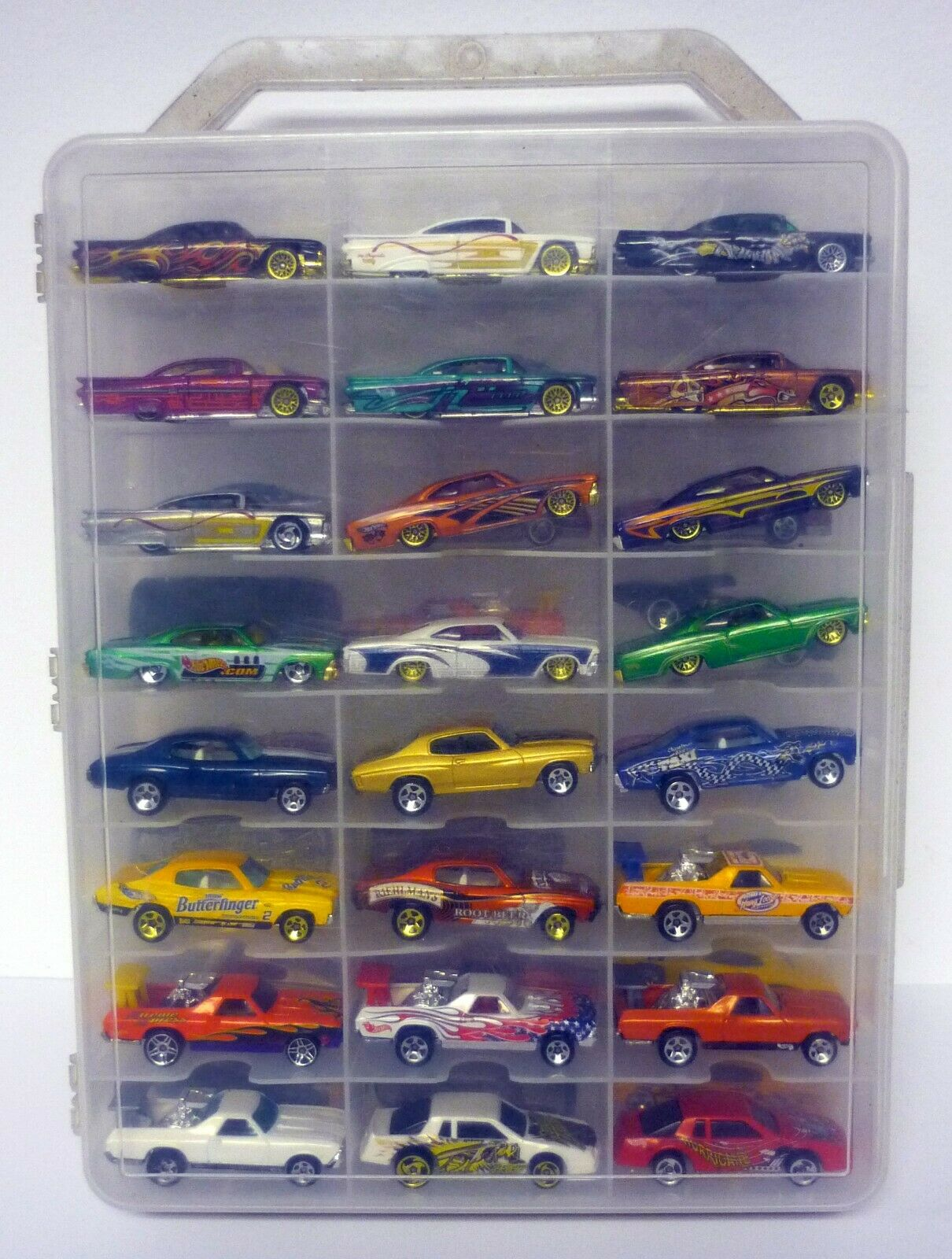 Hot Wheels 48 estuche de transporte coche con el Cochegador de Coches Chevy & Dodge Impala DIE-CAST