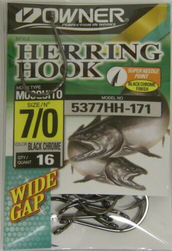 Owner Herring Mosquito Hooks Super Needle Point Wide Gap #5377HH-171 Sz 7//0 16pk