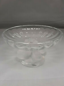 Lalique-Nogent-Bowl-Sparrow-Birds-Crystal-Pedestal-Compote-Signed