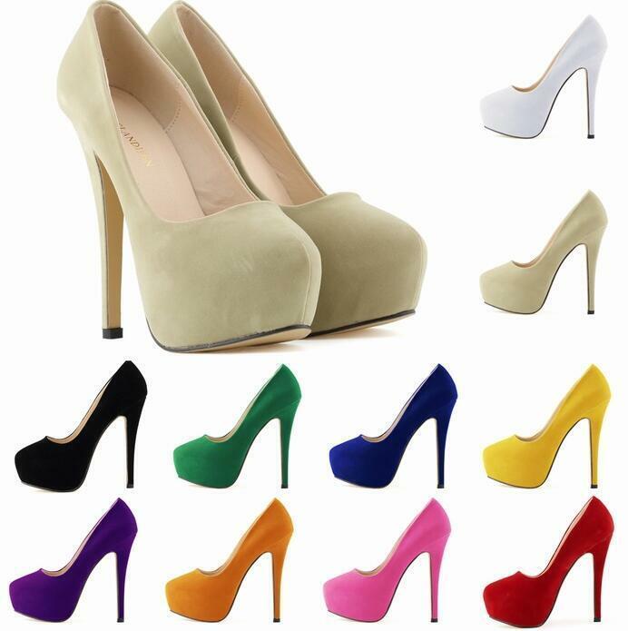 Fashion Ladies Stiletto Heel colorful Round Toe Platform Light Pumps Sexy Party