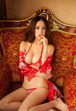 Costume Completino Rosso Kimono Cherry Giapponese Cosplay Sexy Japanese