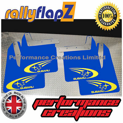 Qty4 Mud Flaps /& Fixings SUBARU IMPREZA New Age 01-07 4mm PVC Blue WRX White