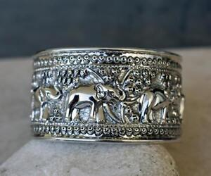 c21ffabe4b6cd Details about Impressive Large Hand Made Sterling Silver 3D Walking  Elephants Cuff Bracelet