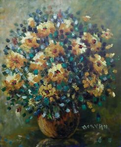 Jean-jacques-Morvan-1928-2005-Ol-Hartfaser-Bouquet-Blumen-Expressionismus