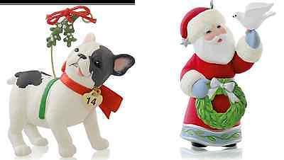 Hallmark 2014 Puppy Love Series  & A Visit From Santa lot of 2 Ornaments