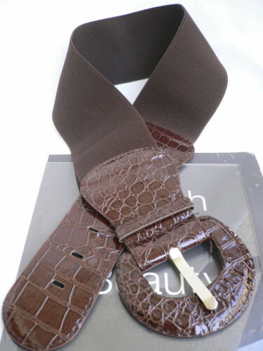 Women Brown Color Elastic Waistband Wide Faux Leather Fashion Belt Size XS S M