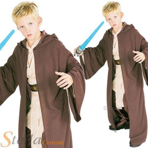 Deluxe Jedi Robe Costume Boys Brown Hooded Star Wars Halloween Fancy Dress