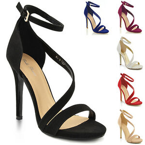 WOMENS HIGH HEEL PLATFORM LADIES ANKLE STRAP PROM PARTY SHOES SANDALS 3-8