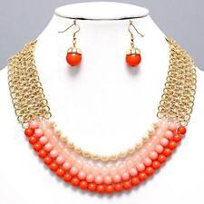 Layered Orange Peach Cream Pearl Bead Gold Chain Earrings Necklace Set