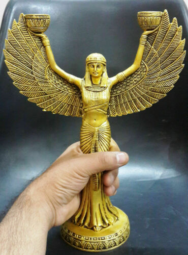 Home Decoration Solid Brass Egypt Angel Figure Candle Holder Xmas Ornaments Dec