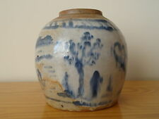 c.17th - Antique Vintage Chinese Stoneware Blue & White Ming Ginger Jar Pot