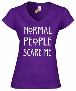 Normal-People-me-faire-peur-Femme-V-Neck-T-Shirt-Funny-goth-femme-Rock-Emo-Top