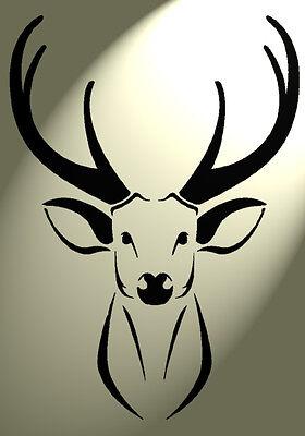 Shabby Chic Stencil Stag Deer Head Rustic Mylar Vintage style A4 297x210mm wall
