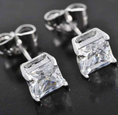 LAB DIAMOND STUDS 14K WHITE GOLD SQUARE SOLITAIRE PRINCESS CUT EARRINGS 2CT