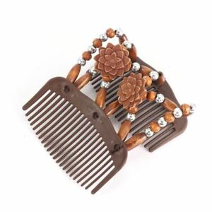 New-Hair-Comb-Wood-Vintage-Stretchy-Bead-Double-Clip-Magic-Beads-Elasticity-Clip