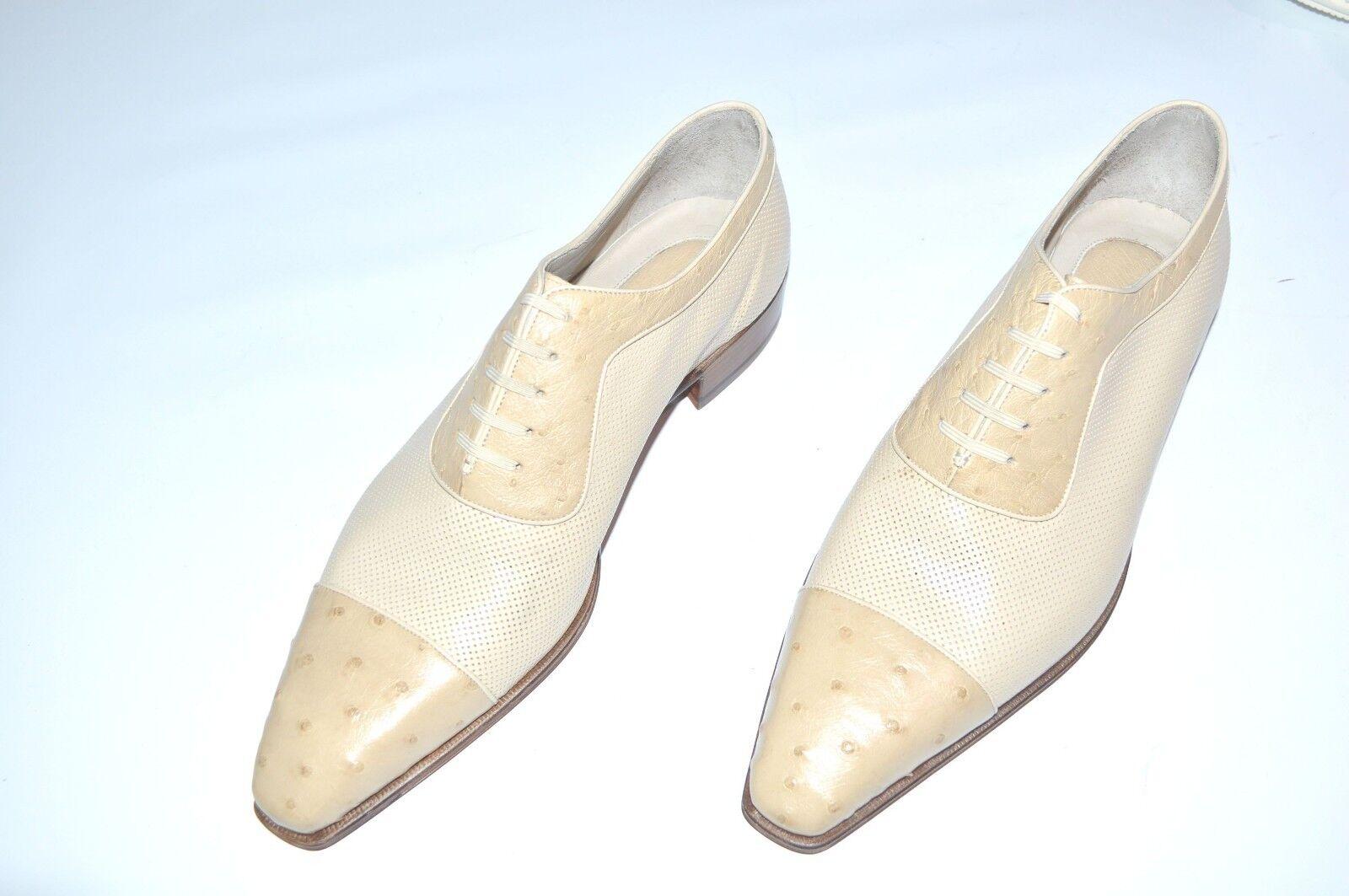 Nuevo STEFANO RICCI Cuero Avestruz Zapatos Talla nos 9 (COD S492)