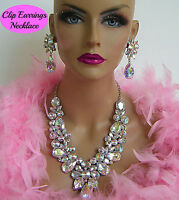 DRAG QUEEN AB SILVER RHINESTONE NECKLACE CLIP ON EARRINGS PAGEANT BRIDAL