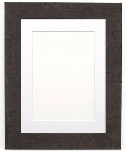 Shabby Chic Rustic Wood Grain Picture Frame Photo Frame BLACK WHITE With Mount