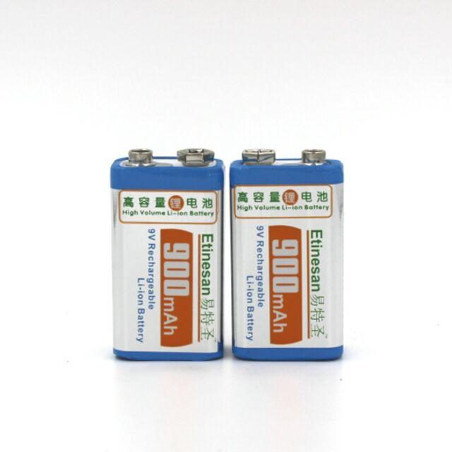 SUPER Etinesan 900mAh 2pcs 9v li-ion lithium Rechargeable 9 Volt Battery
