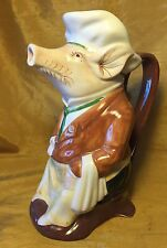 "Vtg Hand Painted Portuguese Pottery PIG as Wine Sommelier 9.5"" Pitcher / Ewer"