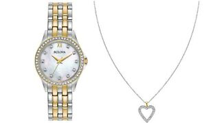 Bulova-Women-039-s-Quartz-Crystal-Accents-Two-Tone-28mm-Watch-and-Pendant-98X113