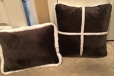 2 New Throw Pillows Chocolate Velvet Ebay