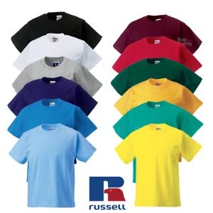 Russell-Enfants-T-Shirt-Classique-plaine-Top-100-Coton-Doux-Couleurs-Garcons-Filles